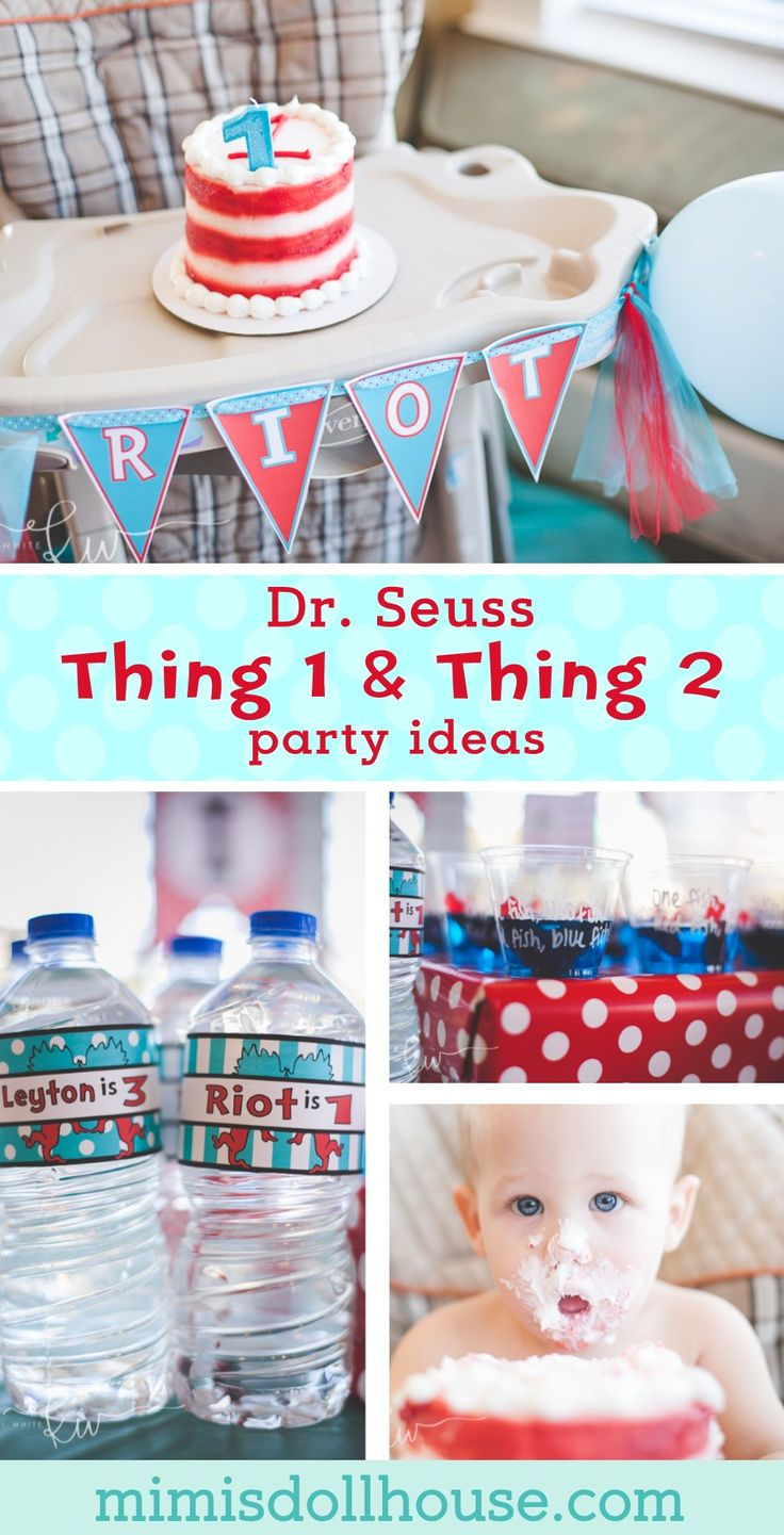 Looking for a perfect birthday ideas for twins or just want to celebrate two kids at once? Dr. Seuss Thing 1 and Thing 2 is the party for you! This party is full of party treats and birthday party ideas. #drseuss #birthdayparty via @mimisdollhouse