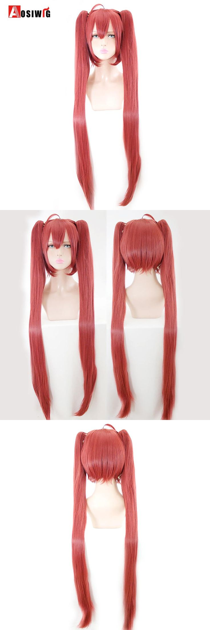 AOSIWIG Long Straight Hair Double Ponytail Wig Synthetic Hair Halloween Costumes Party High Temperature Fiber Cosplay Wigs