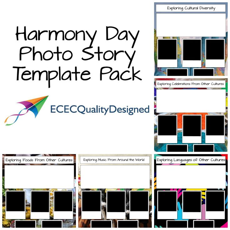 HARMONY DAY 21st MARCH -  PHOTO STORY TEMPLATE PACK.  ECEC Quality Designed brings you a set of simple photo story templates to help you record children's experiences and learning through exploration of cultures on Harmony Day.  This set includes 5 different templates.