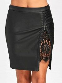 Black High Waist Zip Front Split Detail Lace Panel Skirt