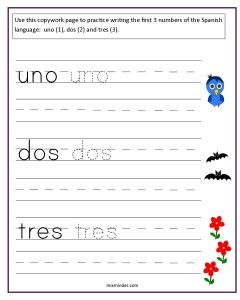 Spanish Numbers One to Ten Copywork Pages