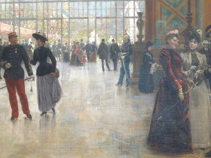 "BEROUD Louis,1889 - Le Dôme Central de la Galerie des Machines lors de l'Exposition de 1889 - Detail 01  -  TAGS/ art painter details détail détails detalles painting Carnavalet museum painters exhibition Paris France Champ-de-Mars urban urbain  people crowd foule visitors visiteurs ""Exposition Universelle""  verrière canopy Eiffel-Tower Tour-Eiffel elegance fashion mode contrôleur ticket-puncher poinçonneur ""jeune femme""  ""young woman"" serving uniforme uniform balcon balcony century…"