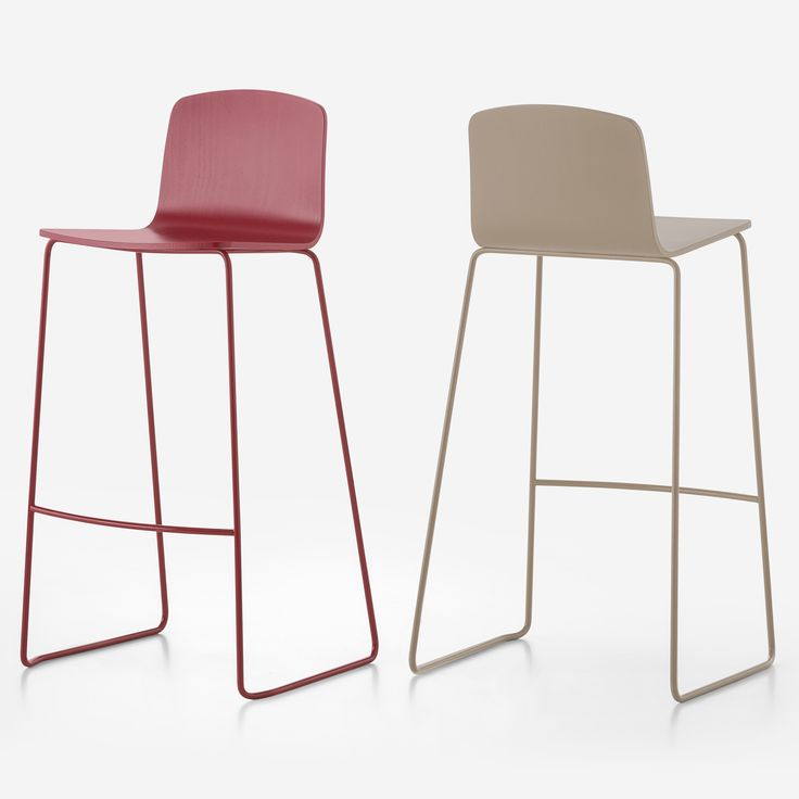 Ann 3.1 | Sandler Seating. Wood barstool/counter stool on a steel sled base. Suitable for stacking and available in a variety of natural stains or epoxy painted colors.