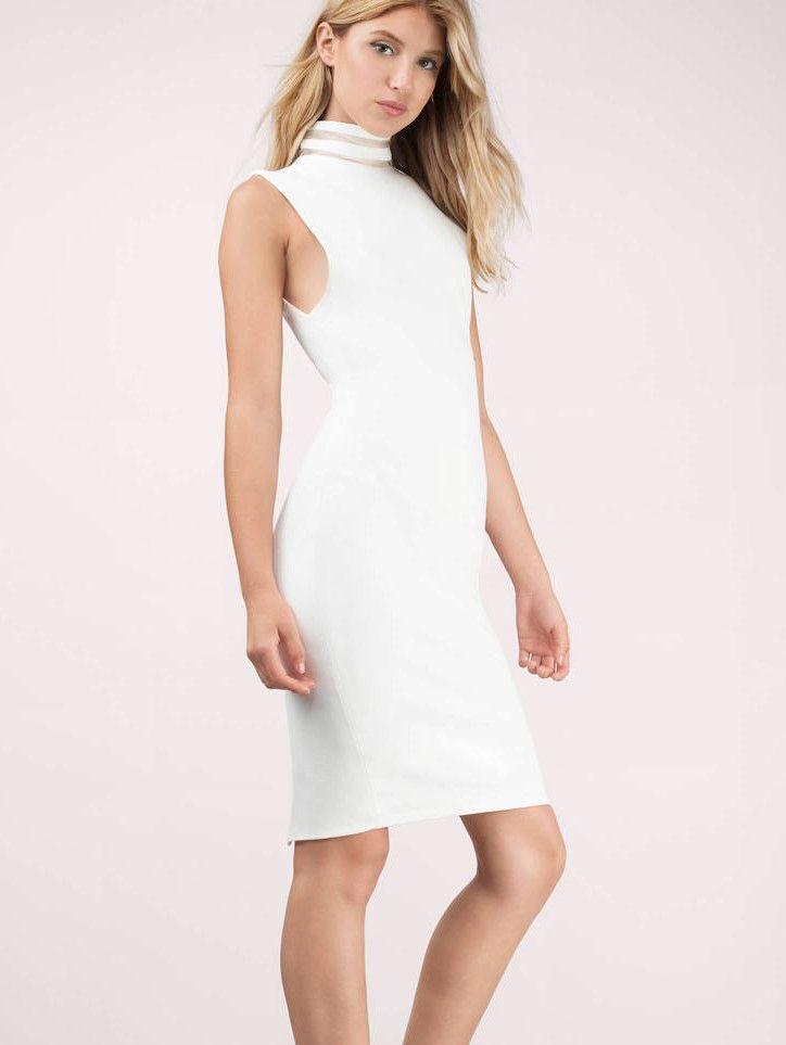 Beyaz Elbiseler Vücudu Saran Halter Yaka Diz üstü