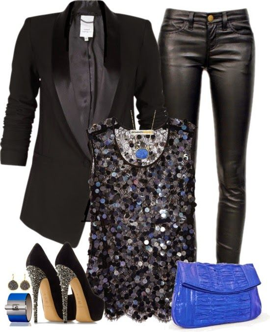 Black and Blue...leather pants jacket has leather trim now the top is cute matching the purse and the shoes are blinging .