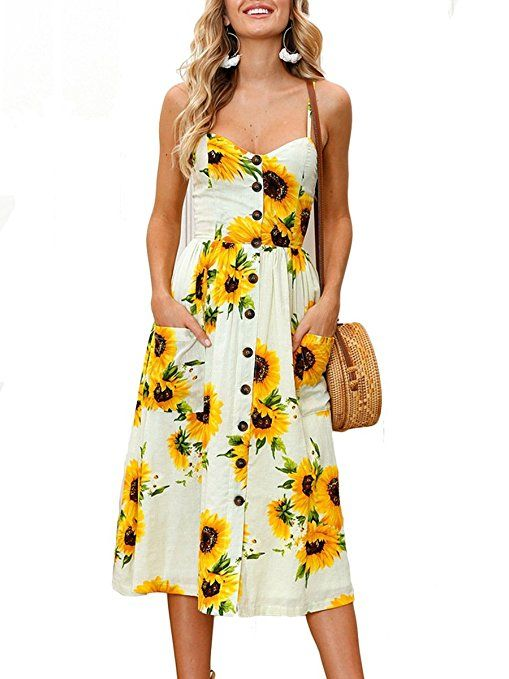 69962e7871 MISFONDLE Women s Sexy Summer Backless Button Down Floral Print Swing Midi  Dress With Pockets at Amazon Women s Clothing store