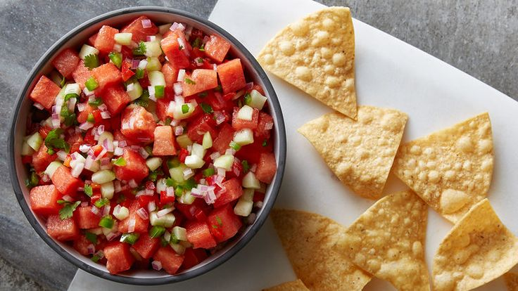 Watermelon Salsa~A sweet and spicy watermelon salsa that uses ingredients fresh from your garden.