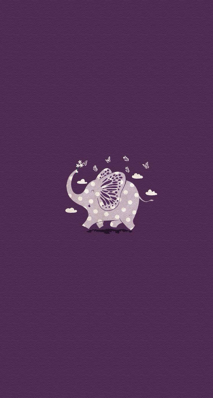 Purple Polka Dot Elephant iPhone Wallpaper