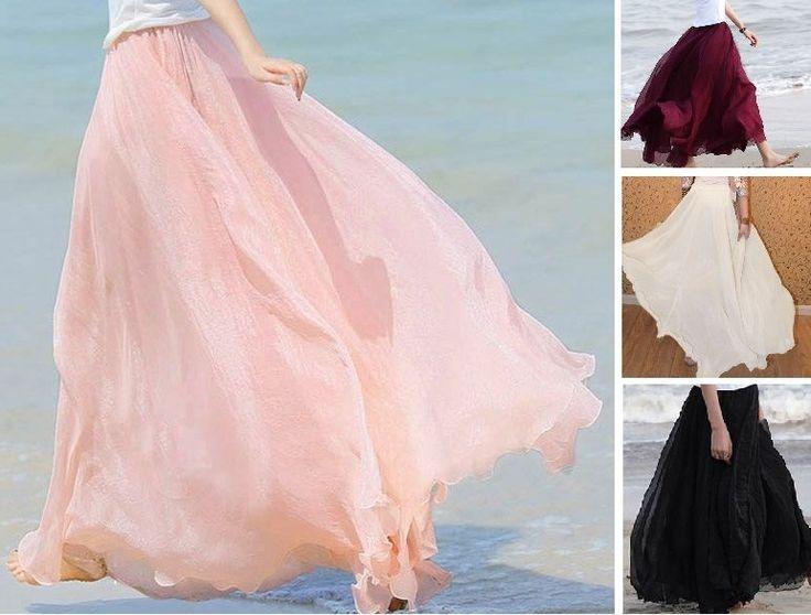 MAXI GONNA CHIFFON mini abito ampio estivo nero bianco rosa quarzo rosso lunga