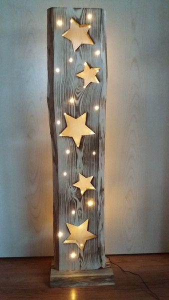 Dekorationsobjekte – Holzbrett mit Sternen + LED-Beleuchtung – ein Unikat von F …