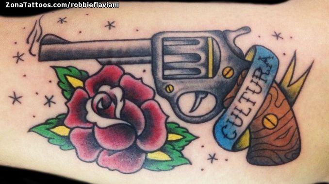 Tatuaje hecho por Robbie, de Pescara (Italia). Si quieres ponerte en contacto con él para un tatuaje o ver más trabajos suyos visita su perfil: http://www.zonatattoos.com/robbieflaviani    Si quieres ver más tatuajes de armas visita este otro enlace: http://www.zonatattoos.com/tatuaje.php?tatuaje=104122