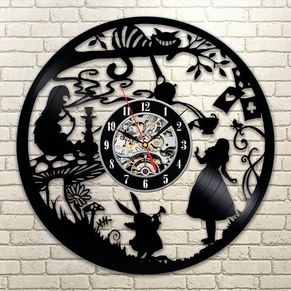 Best Original Wall Clock Made Of Vinyl Record Which Will Definitely Make Everyone Fall In Love With Yo Alice In Wonderland Clocks Wall Clock Modern Wall Clock