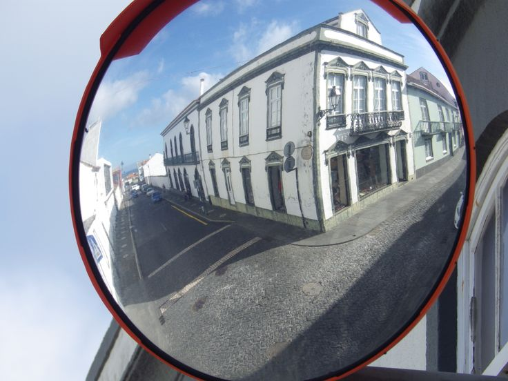 Driving the streets of Ribeira Grande.  You use the mirrors to see what's coming. Taken 2-18-14