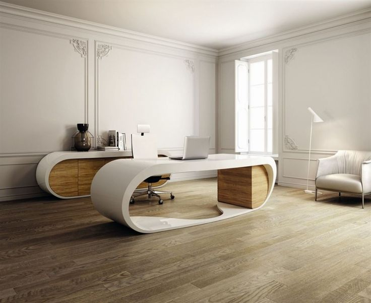 Home Interior  Wooden Floor Unique Office Desk Modern Commercial
