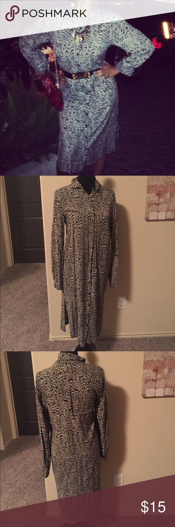 Gorgeous dress!!! Long sleeve dress for sale! Splits on both sides. Button down in the front. Sexy slit in the back. Pair with a belt and you're ready to go!!!! silence + noise Dresses Long Sleeve