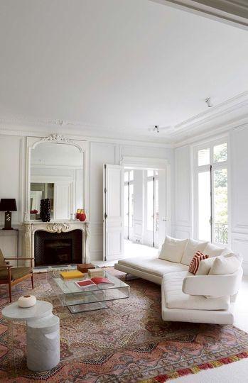eclectic peach and beige rug #livingroom #rug