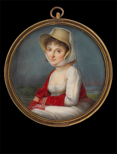 Lady in white gown with red shawl and straw hat by Gustav Friedrich Amalius Taubert, 1797. Watercolor and gouache on ivory.