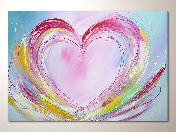 "Original modern art heart painting ""happy love"", abstract contemporary artwork, wall decoration,acrylics,colorful,buy direct from artist"