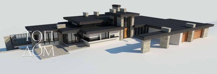 Проект коттеджа на склоне (стиль раннего модернизма), площадь 1600 кв.м