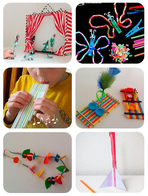 6 manualidades infantiles con pajitas, vía pequeocio.com