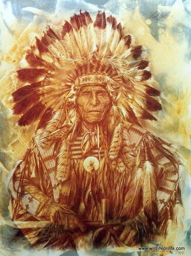"""The famous Chief of the Dakota stands tall and strong as a Native American man would in this Paul Calle print. This print is available in 11.5""""x15.5"""""""