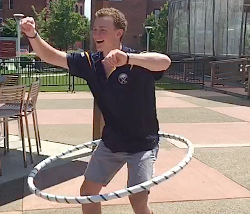 Jack Eichel Hula Hoops with the Buffalo Sabres • hooping.org