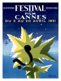 Festival du film de Cannes d'époque 1951 reproduction procédé giclée par Paul Colin