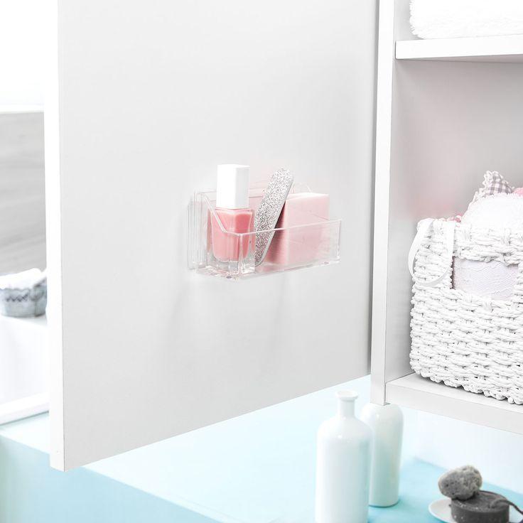 Il box Vision vi consente di tenere a portata di mano qualsiasi oggetto! Grazie al suo cerotto adesivo attacca/stacca, vi consente il montaggio a parete in modo sicuro senza chiodi o viti, senza forare o danneggiare le pareti. Si adatta su qualsiasi superficie liscia o leggermente porosa: vetro, metallo, piastrelle, vetro o melaminico. L'installazione e' ultra-semplice e veloce! Realizzato in materiale plastico supporta un peso massimo di 1 kg. Il set si compone di 2 box grandi.