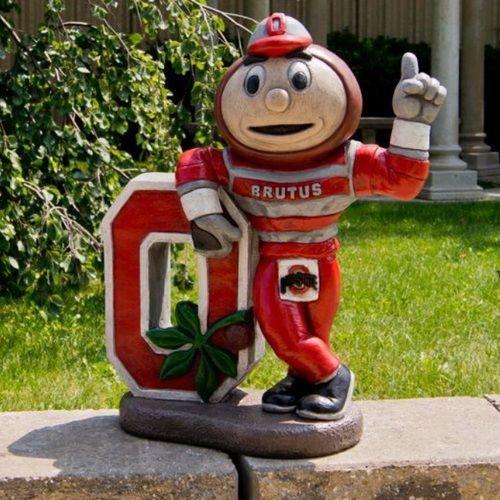 This Ohio State Buckeyes Mascot Garden Statue of Brutus Buckeye is a great addition to any Buckeyes garden or backyard.