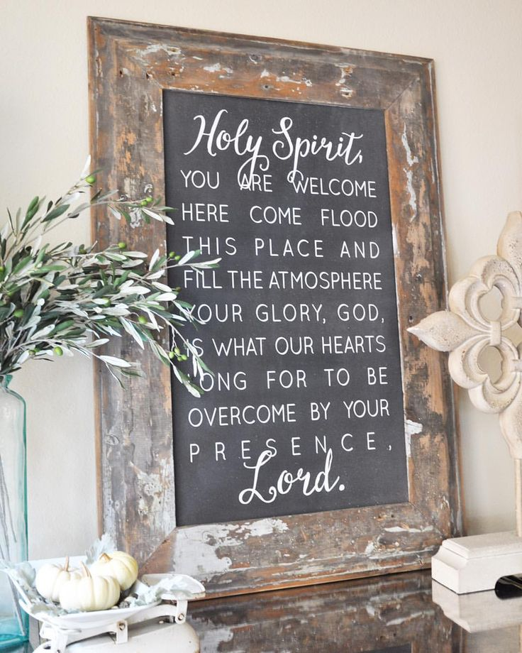 "Happy Sunday, friends!  I just have to share my happy mail from yesterday.  This gorgeous sign from @houseofbelonging finally arrived, and it was well worth the wait!  I just love the words, which are lyrics from a beautiful song by Kari Jobe, called ""Holy Spirit,"" and the reclaimed wood frame is to die for!"