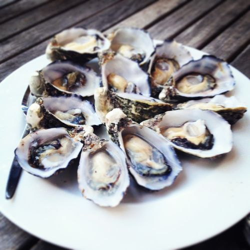 Sweet little Pittwater oysters, a morsel of briny heaven. Shucked just prior to eating.