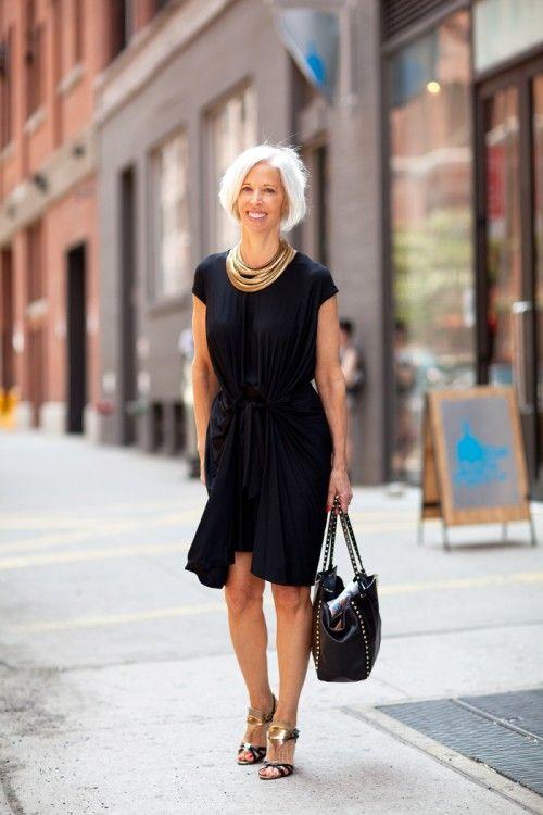 Black dress + gold