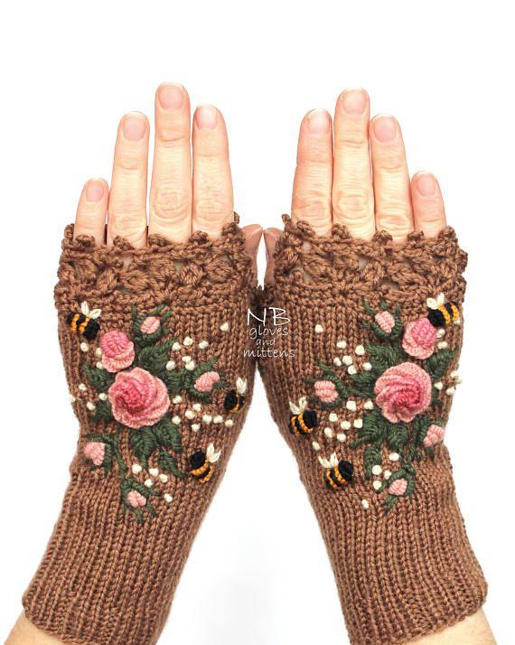 Guantes sin dedos capuchino marrón rosas rosa rosa Pastel