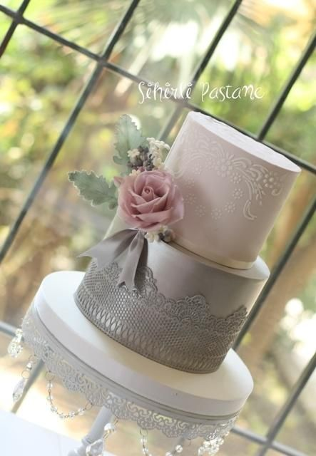 Silver Lace Cake by Sihirli Pastane - http://cakesdecor.com/cakes/266415-silver-lace-cake