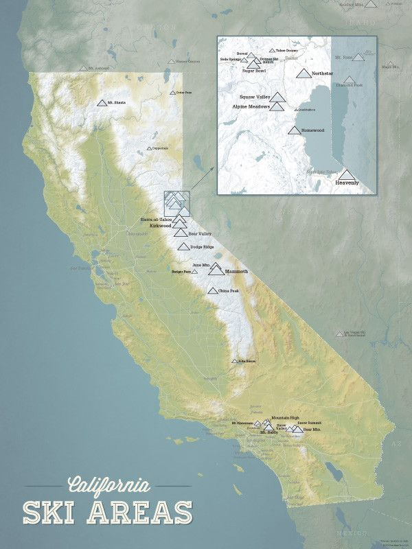 California Ski Resorts Map 18x24 Poster from Best Maps Ever