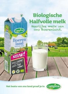 Biologische halfvolle melk advertentie #reclame #advertentie #melk #koe