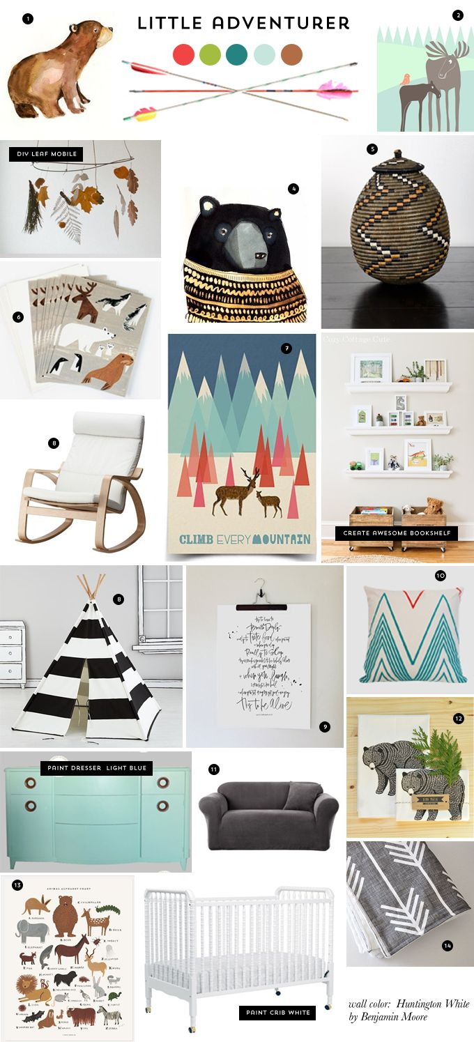 Z&L Nursery Inspiration  - We love little adventurers and that feather mobile is perfect for this nursery style. The prints in 1, 2 and 7 make us want to style a nursery right away.
