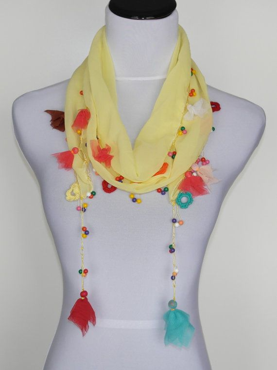 ON SALE- Easter scarf/ Handmade flower scarf/ spring scarf/ summer scarf/ colorful scarf with beads/ chiffon scarf/ gift for her/ tulle on Etsy, $10.90