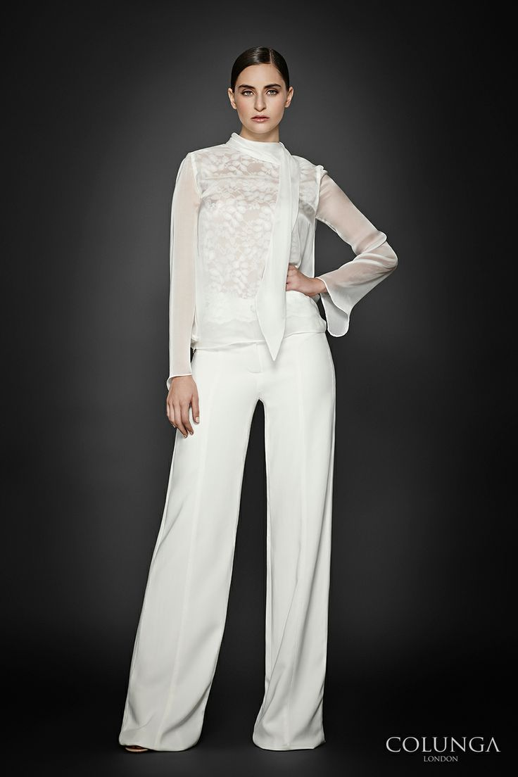 COLUNGA signature look: Hélène-Béatrix. Blouse of English lace and pure silk chiffon. Trousers of Italian viscose.