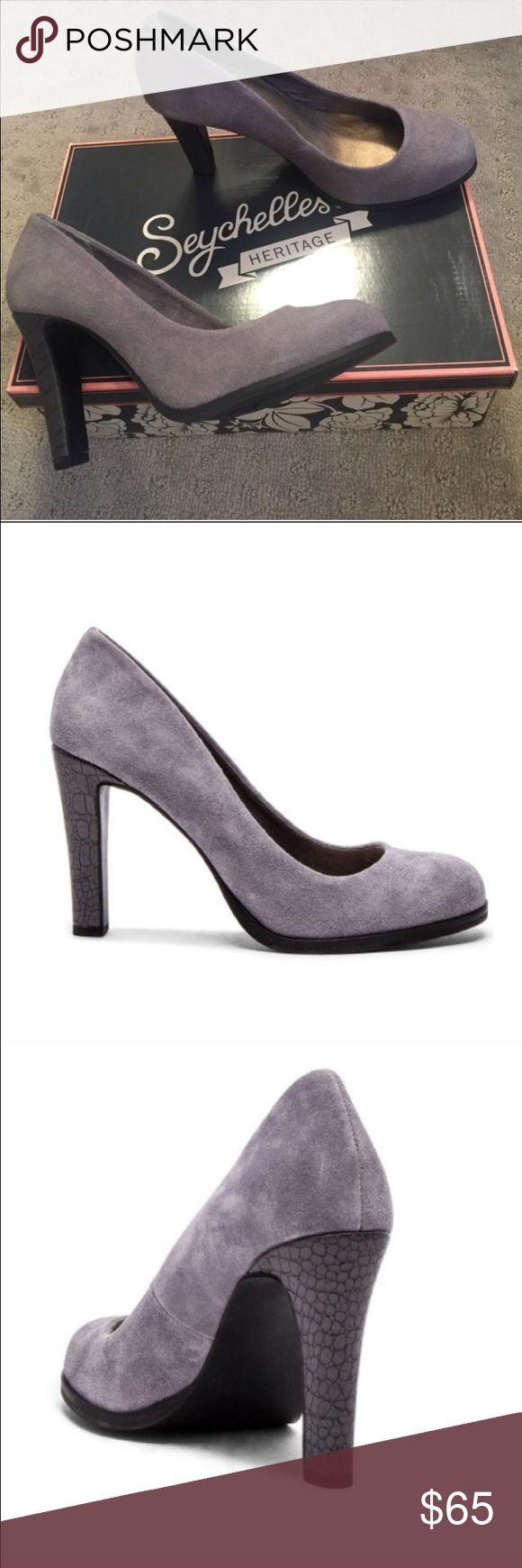 "🆕! Seychelles - keyboard suede pumps (Grey) Brand new, beautiful, original packaging, unworn. Comfortable, gorgeous suede upper with rubber sole, embossed heel, 3.5"" heel height. Seychelles Shoes Heels"