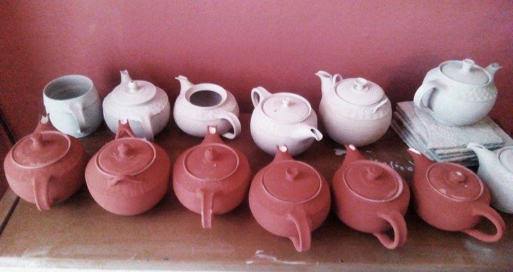 amaco stoneware glazes... unfired teapots