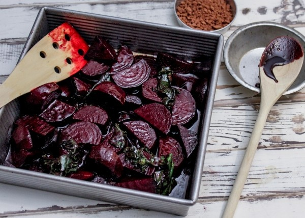 // Chocolate Balsamic Roasted Beets // Instead of flavoring plain balsamic with sugar and cocoa powder, use our Dark Chocolate Balsamic!