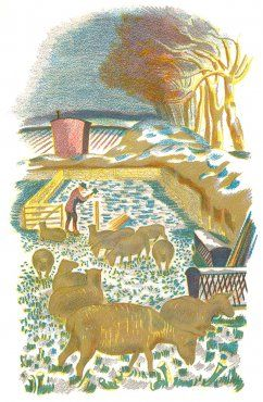 'Winter' lithograph by John Nash from 'Men and the Fields' by Adrian Bell (1939)