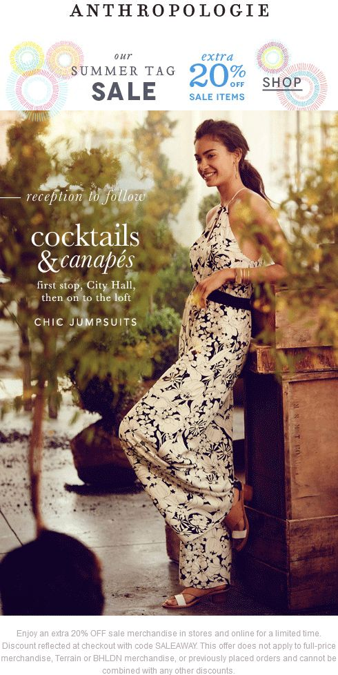 Pinned July 12th: Extra 20% off sale items at #Anthropologie ditto online #coupon via The #Coupons App