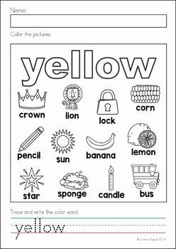 Back to School Math & Literacy Worksheets and Activities No Prep. Colors worksheet.