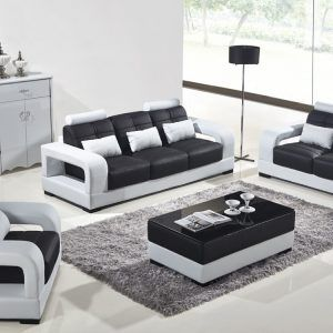 modern black and white leather sofa set