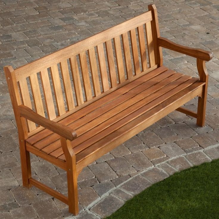 5 Ft Outdoor Wooden Garden Bench With Armrests