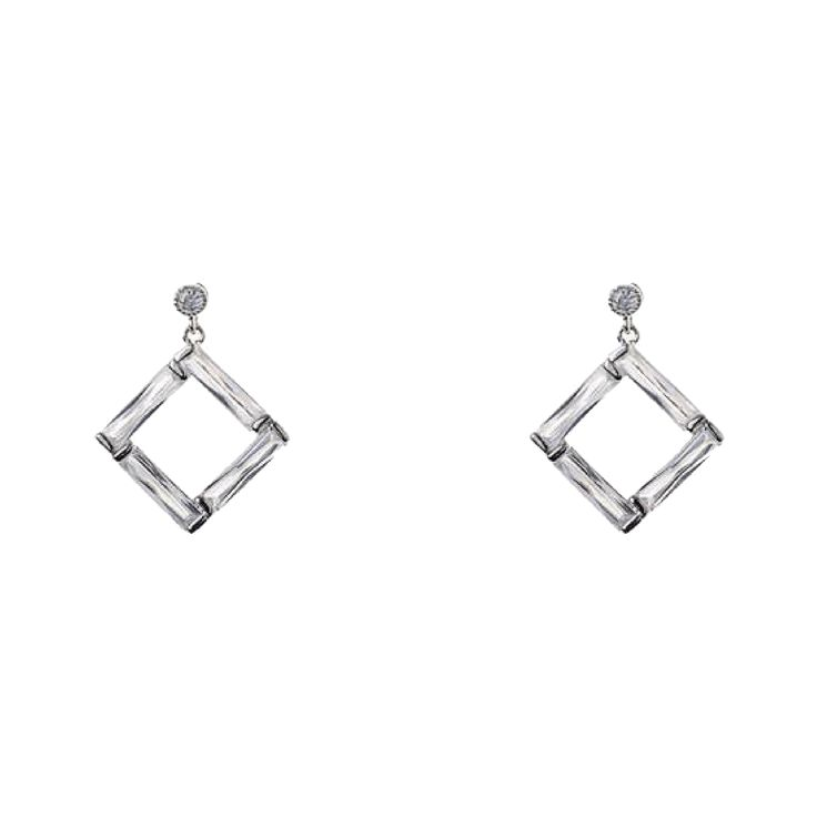 Jeminee Jewellery London Chelsea Sparkle Silver Crystal Earrings. Make a sparkling statement with these stunning crystal earrings, beautiful glass crystal designed and cut to give maximum shine. | #OOTD #GiftforHer #Fashion |