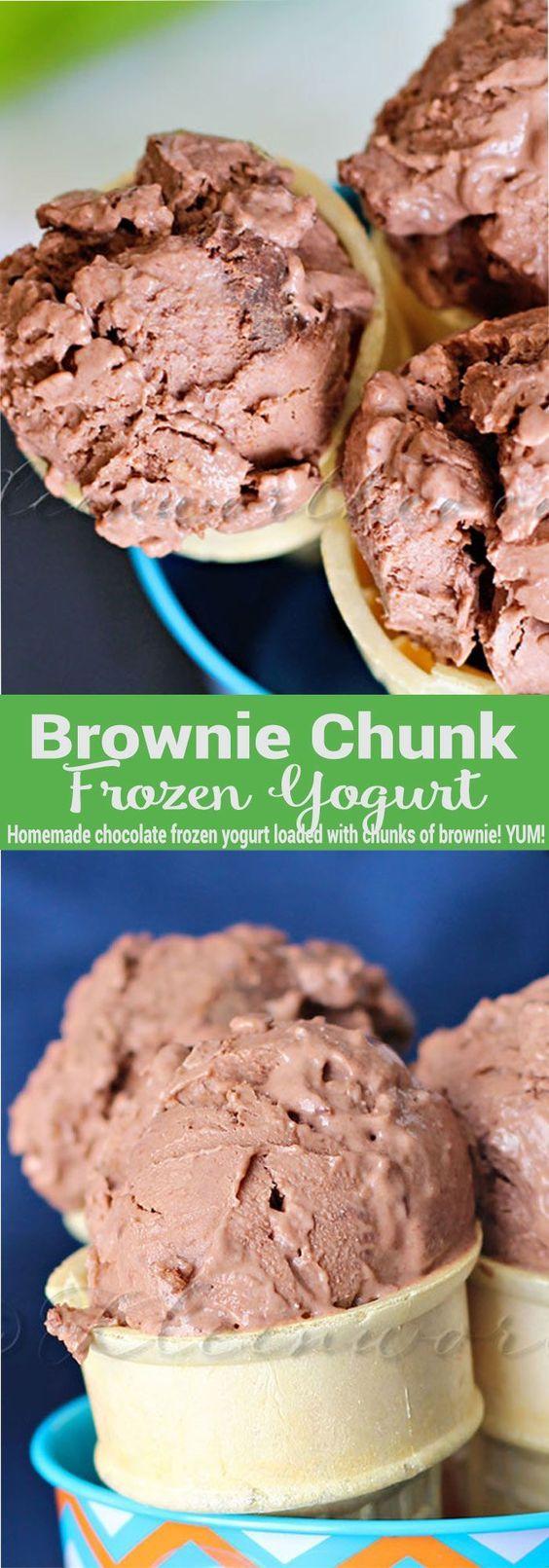 Brownie Chunk Frozen Yogurt -the perfect easy summer dessert. No-bake chocolate treats loaded with brownies makes this no-churn frozen yogurt pure heaven! via @KleinworthCo