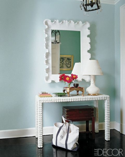 hallway, foyer, console table, mirror, accessories, home decor